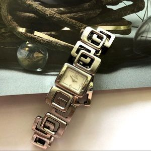 FOSSIL Silver White Large C Ring Chain Band Watch